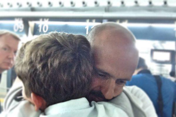 Arrival of my son Bernardo to Kiev airport - September 2014