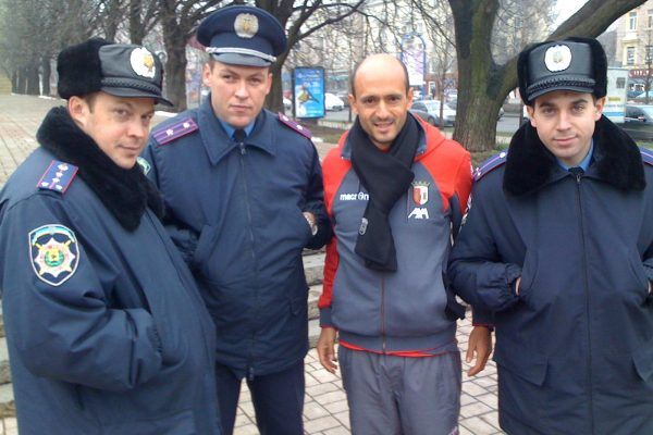 Donetsk January 2010 - Champions League game against Shakhtar - A talk with local police...