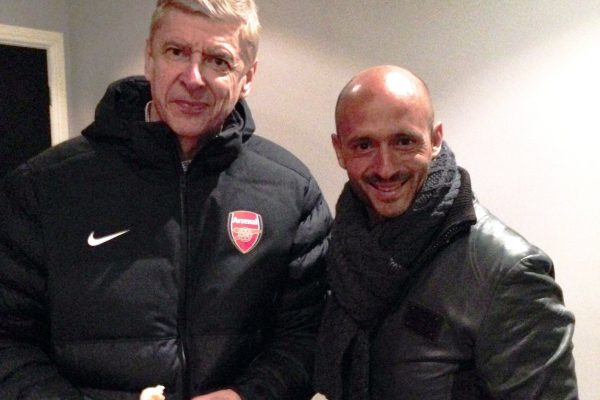 With Arsene Wenger during the game of Youth League against Arsenal - February 2014