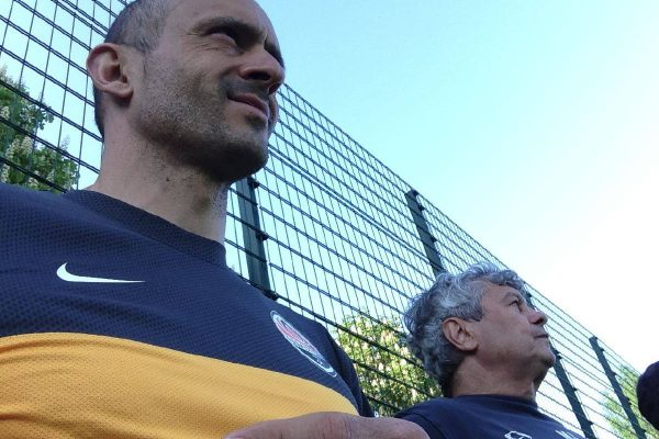 With Mircea Lucesco watching a training session - July 2013