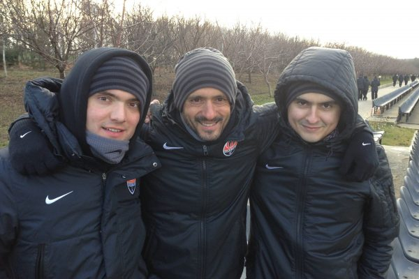 With Yevgen Chuprun and Oleksandr Alekseev watching academy games - November 2013